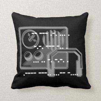 Coussin noir 41cmx41cm de conception de code Morse