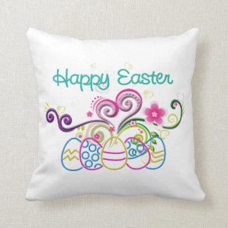 Coussin Oeufs de parties scintillantes de Pâques et floral