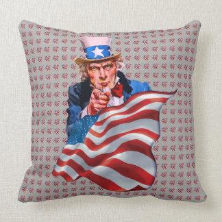 Coussin Oncle Sam et drapeau américain