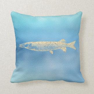 Coussin Or Pikefish d'Ombre Tiffany d'Aqua de bleu d'océan