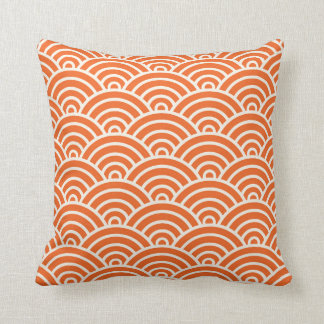 Coussin Orange de motif de feston d'art déco