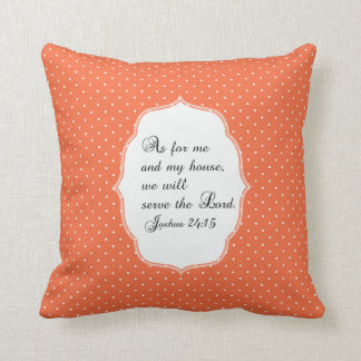 Coussin orange de vers de bible de 24h15 de Joshua