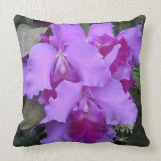 Coussin Orchidées de Catleya de lavande