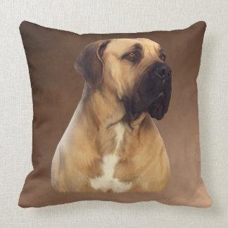 Coussin Peinture de portrait de chien de Dogue De Bordeaux