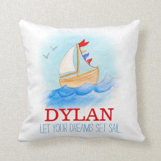 Coussin personnalisé de nom de bateau à voile de coussin décoratif