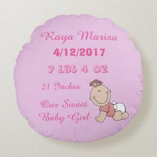 Coussin personnalisé rayé rose de bébé