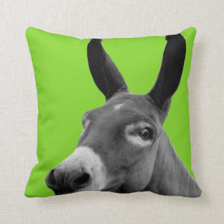 Coussin Photo animale drôle noire et blanche d'âne