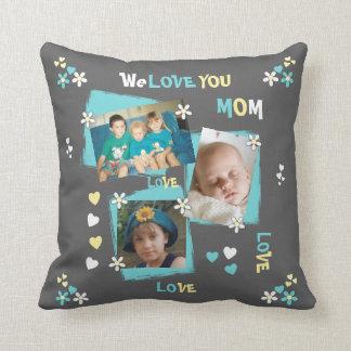 Coussin Photo personnalisée pour floral gris de maman de