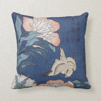 Coussin Pivoines et canari de Katsushika Hokusai