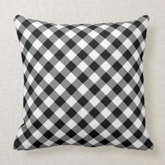Coussin Plaid vérifié noir et blanc diagonal