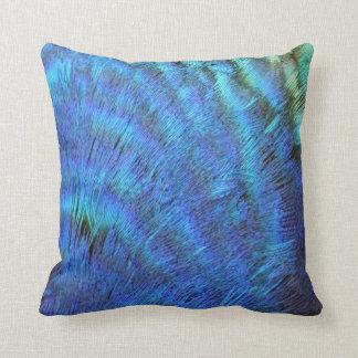 Coussin Plumes bleues brouillées de paon