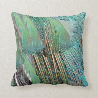 Coussin Plumes de paon vert et bleu