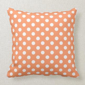 Coussin Pois blanc sur l'orange de mandarine