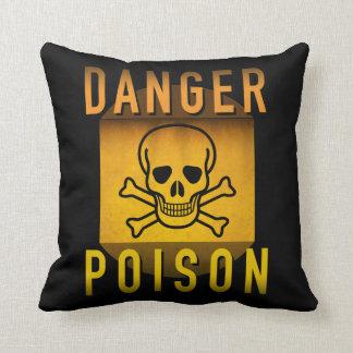 Coussin Poison de danger avertissant la rétro grunge d'ère