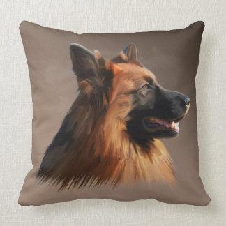 Coussin Portrait d'art d'aquarelle de chien de berger