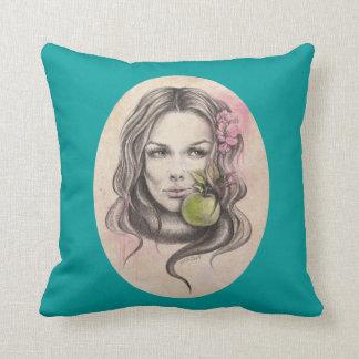 Coussin Portrait d'Eve|Woman avec le carreau de pomme