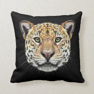 Coussin Portrait illustré de Jaguar. Visage pelucheux