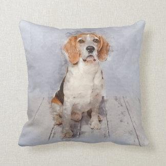 Coussin Portrait mignon d'aquarelle de beagle