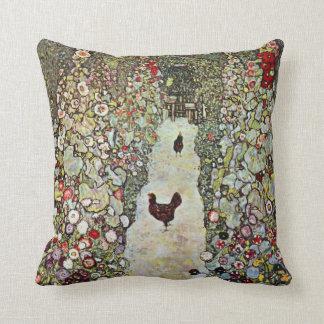Coussin Poulets du chemin W de jardin, Gustav Klimt, art