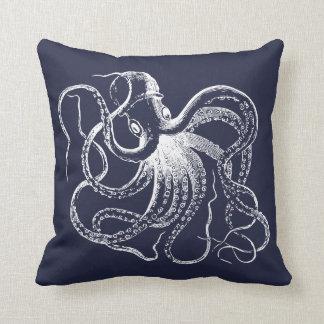 Coussin Poulpe vintage de bleu marine et rayures nautiques