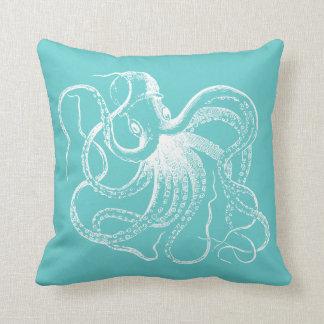 Coussin Poulpe vintage de turquoise et rayures nautiques