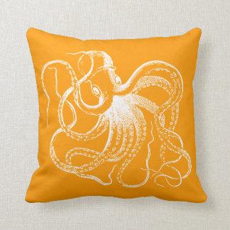 Coussin Poulpe vintage orange et rayures nautiques