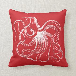 Coussin Poulpe vintage rouge et rayures nautiques