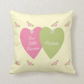 Coussin Princesse personnalisée Pink et vert de nom de