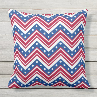 Coussin Rayures bleues blanches rouges de zigzag