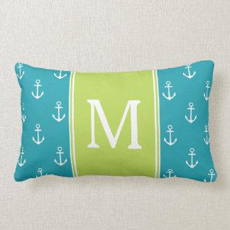 Coussin Rectangle Ancres de bleu et de blanc d'océan avec le
