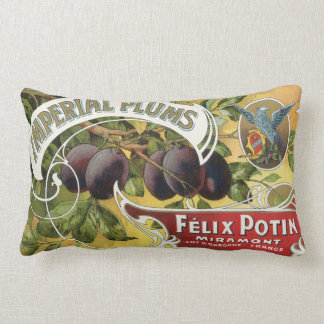 Coussin Rectangle Art vintage d'étiquette de caisse de fruit, prunes