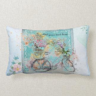 Coussin Rectangle Bicyclette avec des paniers de fleur sur la toile