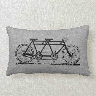 Coussin Rectangle Bicyclette tandem vintage grise rustique