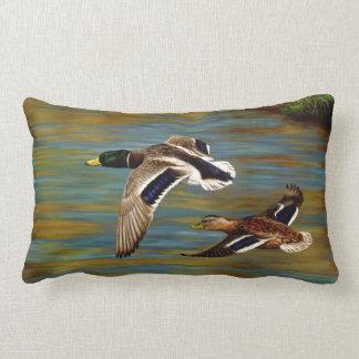 Coussin Rectangle Canards de Mallard volant au-dessus de l'étang