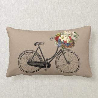 Coussin Rectangle Carreau brun clair de fleur   de bicyclette