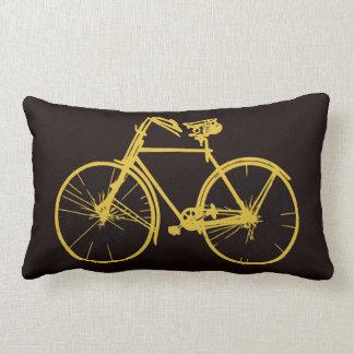 Coussin Rectangle Carreau de bicyclette de vélo d'or de Brown foncé