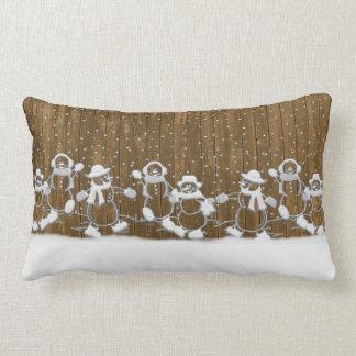 Coussin Rectangle Carreau de bonhommes de neige de danse de Noël