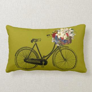 Coussin Rectangle Carreau jaune de fleur de bicyclette   de moutarde