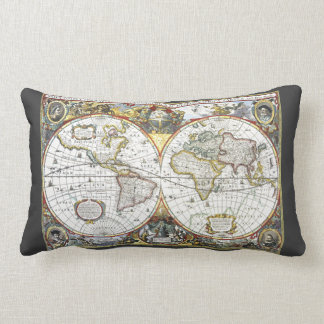 Coussin Rectangle Carte antique du monde par Hendrik Hondius, 1630