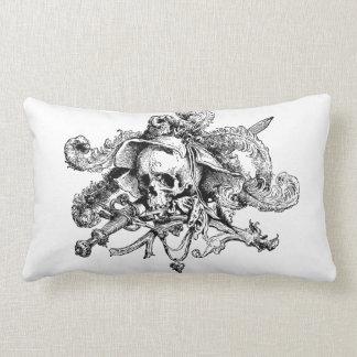 Coussin Rectangle Crâne et os croisés de pirate sur le carreau blanc