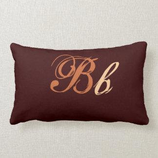 Coussin Rectangle Double monogramme de B en Brown et beige