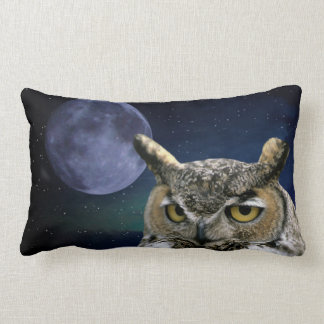 Coussin Rectangle Hibou et lune bleue