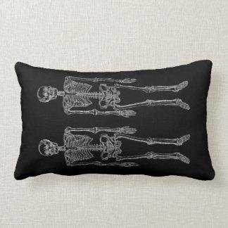 Coussin Rectangle Horizontal blanc de doubles squelettes humains