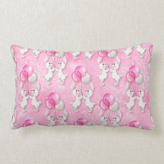 Coussin Rectangle Lapin et ballons. Rose