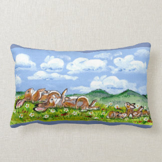 Coussin Rectangle Lapins observant le concepteur d'art de nuages