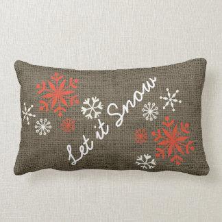 Coussin Rectangle Le flocon de neige de vacances l'a laissé neiger