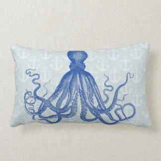 Coussin Rectangle Le poulpe bleu vintage ancre la plage nautique de