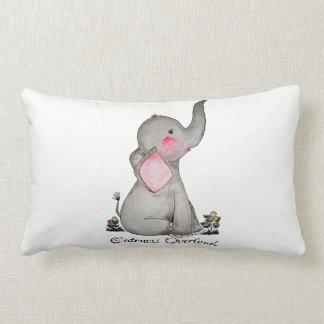 Coussin Rectangle L'éléphant mignon de bébé d'aquarelle avec