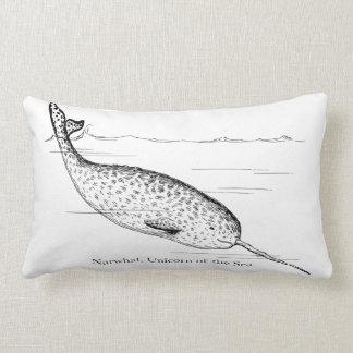 Coussin Rectangle Licorne de baleine de Narwhal de la mer
