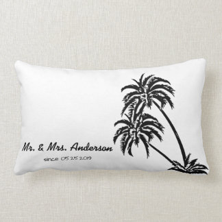 Coussin Rectangle Mariage tropical d'amour de palmiers personnalisé